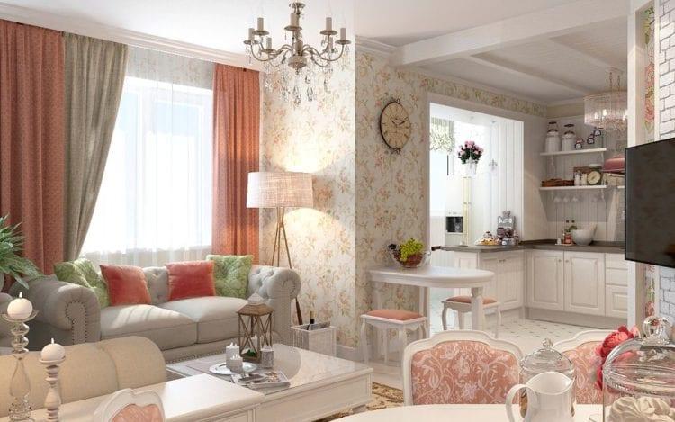 Кухня-гостиная в 50 кв. м: дизайн в стиле прованс