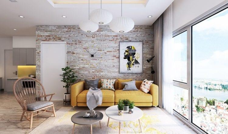 Дизайн белой кирпичной стены в гостиной
