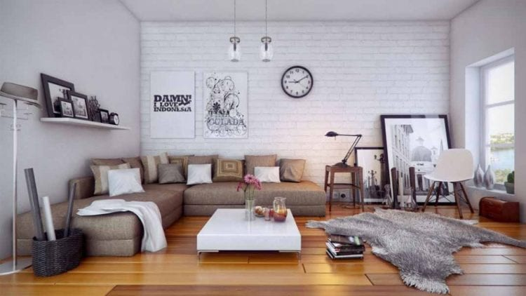 Интерьер гостиной с белой и серой кирпичной стеной