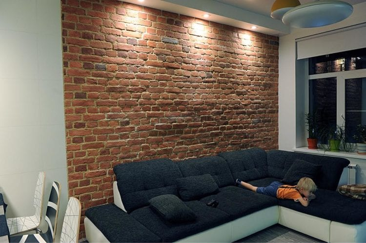 Плитка «под кирпич» при оформлении стены в гостиной