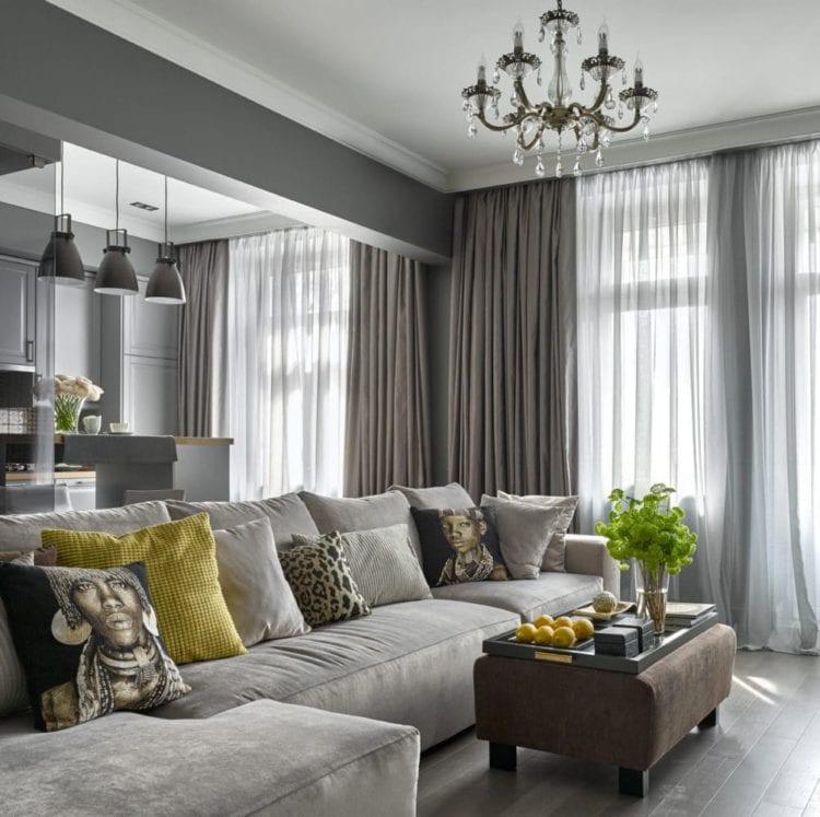 Серый кухня-гостиная в классическом стиле