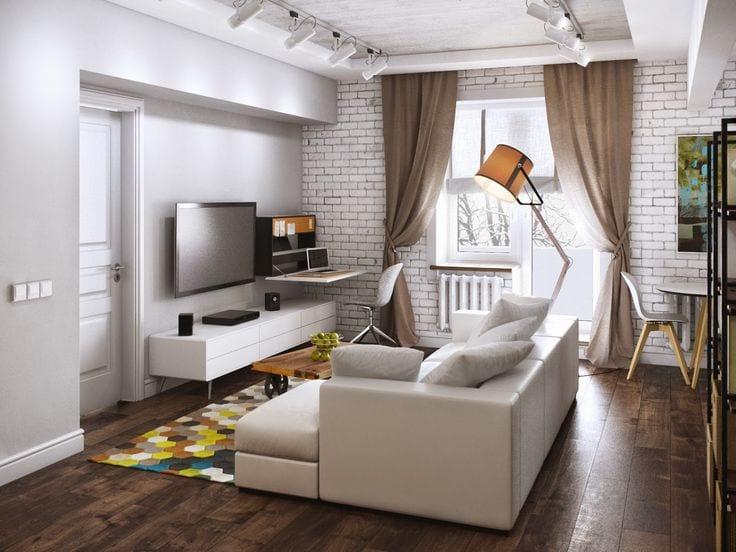 Интерьер гостиной в хрущевке с отделенным от комнаты проходом
