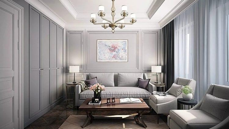 Пример сочетания простой современной обстановки с классическим декором