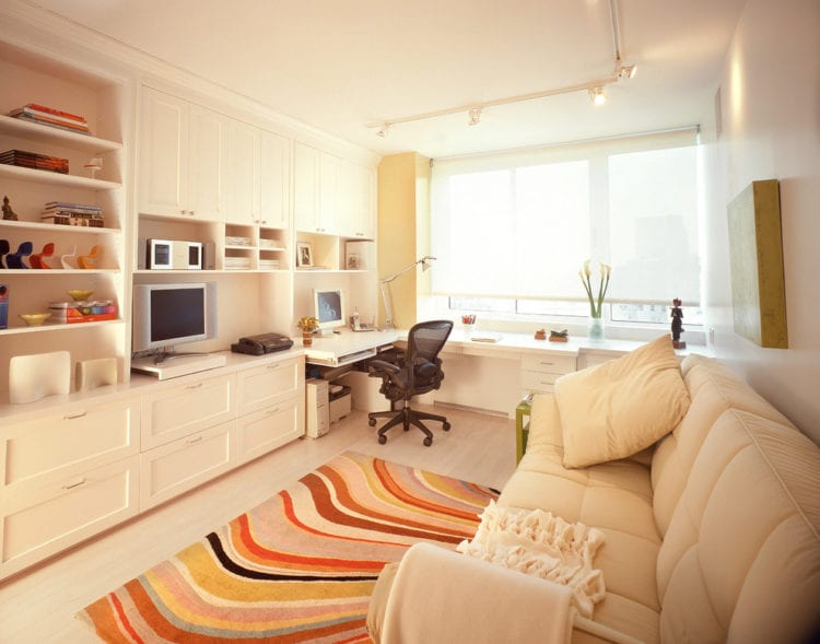 Зонирование гостиной и рабочей зоны