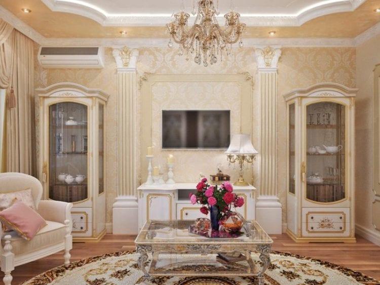 Дизайн маленькой гостиной в классическом стиле с имитацией колонн