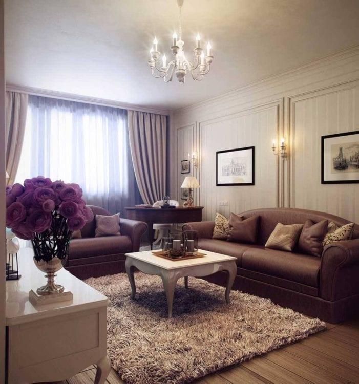 Интерьер маленькой классической гостиной