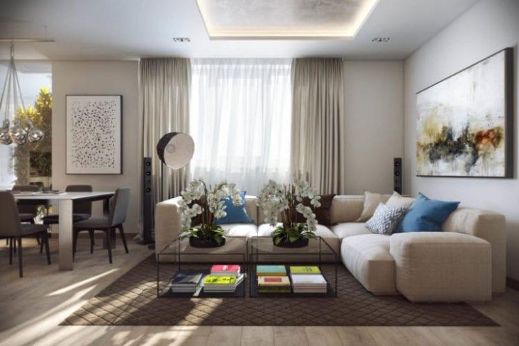 Дизайн гостиной в светлых тонах в монохромном исполнении