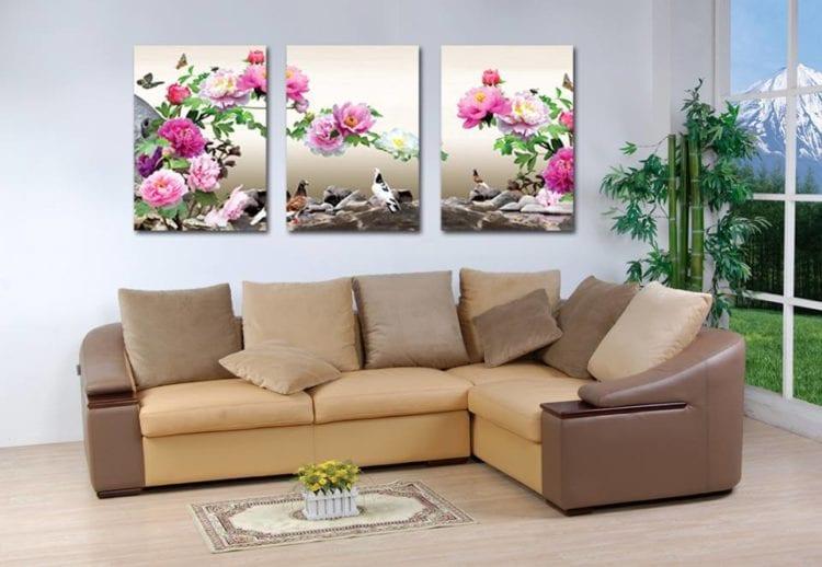 Модульная картина в гостиную цветок