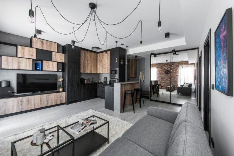 Кухни-гостиные в Индустриальном стиле
