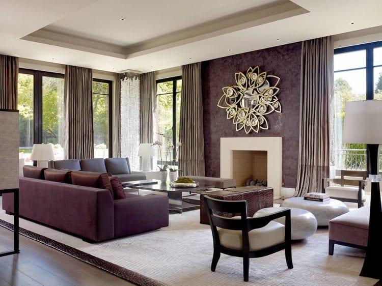 Фиолетово коричневая гостиная