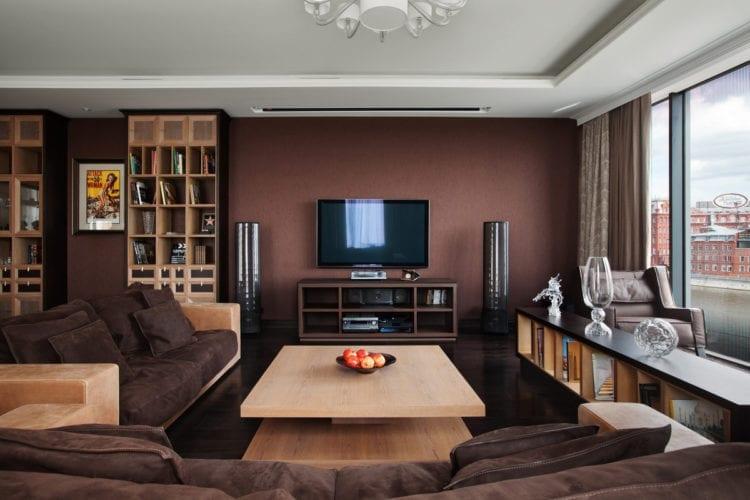 Дизайн гостиной в шоколадной гамме