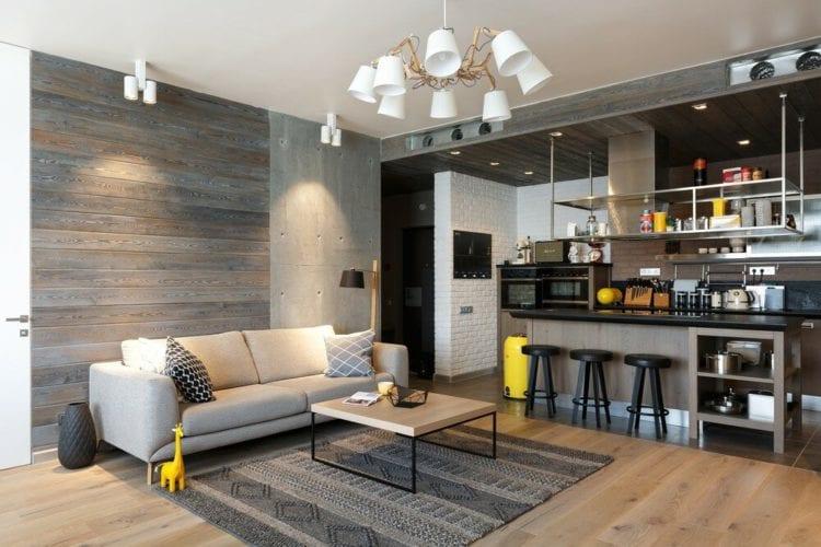 Кухня-гостиная 50 кв. м. в стиле лофт