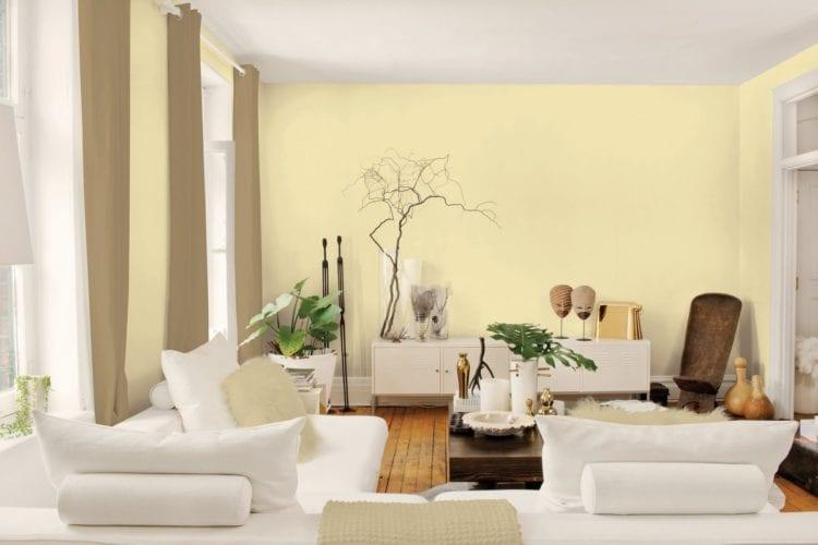 Светло желтые стены в интерьере
