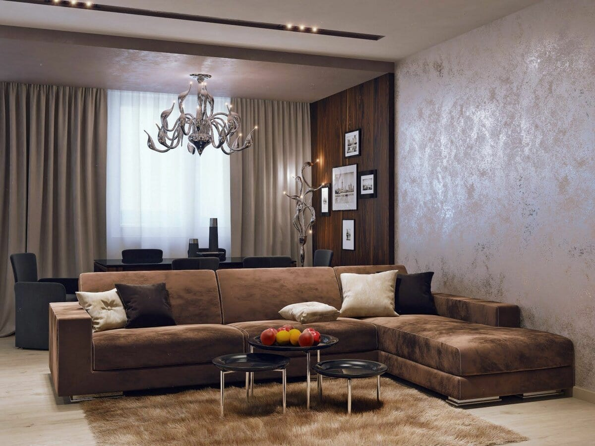 Декоративная штукатурка в интерьере гостиной