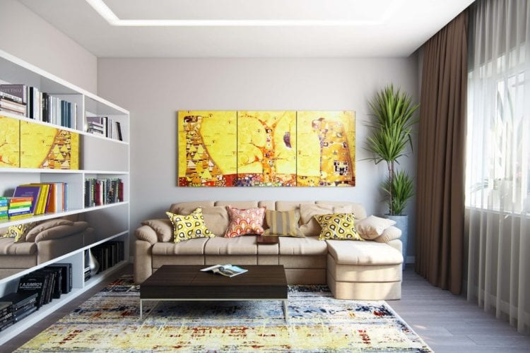 Картина в интерьере на стене