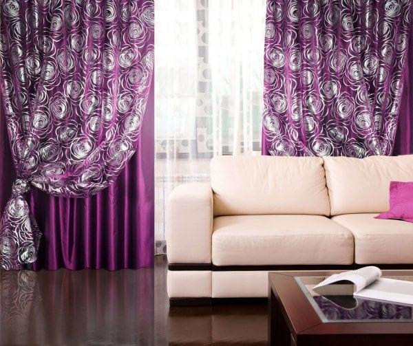 Фиолетовые шторы и тюль