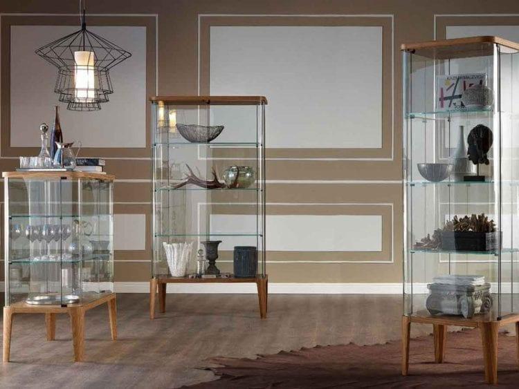Стильные стеллажи в гостиной из стекла