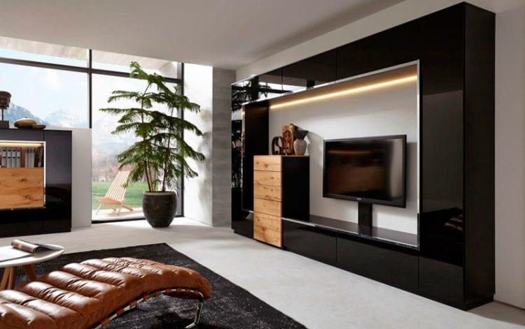 Большая стенка в гостиную в современном стиле