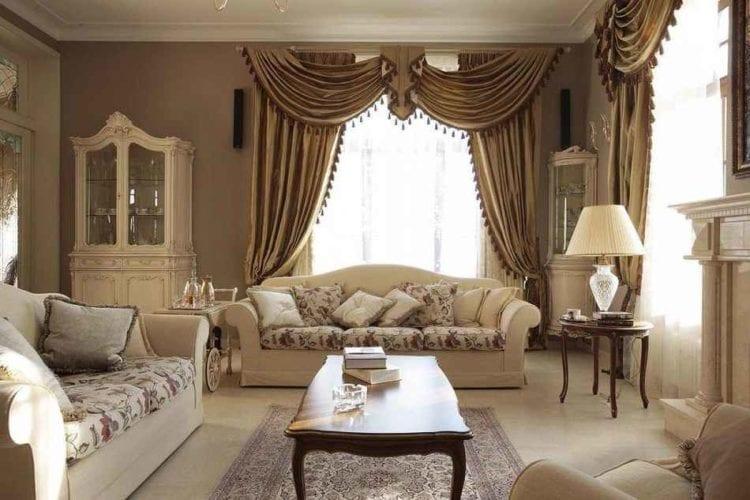 Шторы в гостиную в классическом стиле