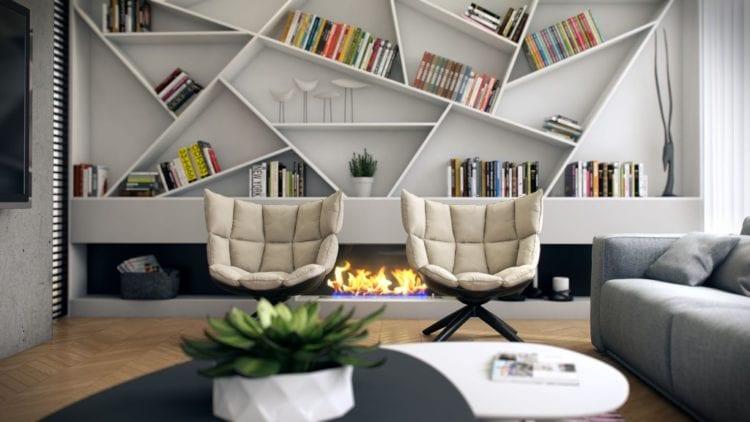 Дизайнерские стеллажи в гостиной