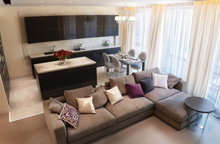 Угловые диваны в интерьере кухни-гостиной