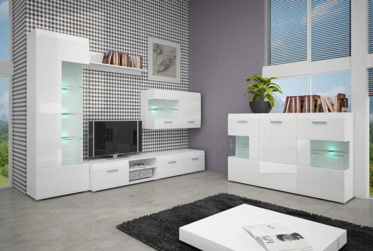 Современные белые стенки в гостиную