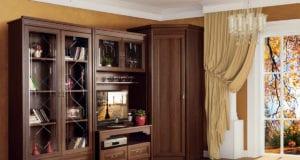 Стенка в гостиную со шкафом для одежды