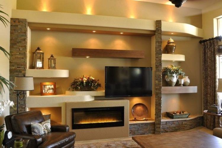 Стенка из гипсокартона под телевизор и камин