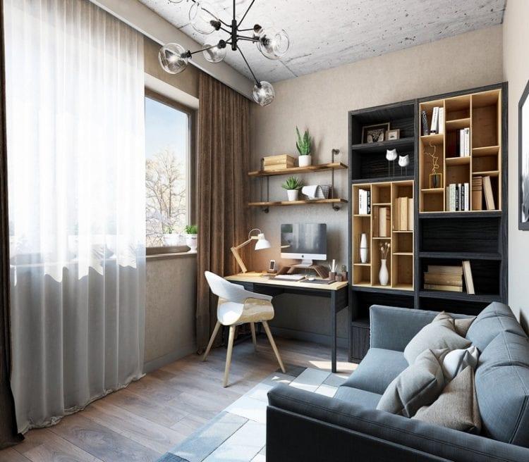 Спальня кабинет в скандинавском стиле