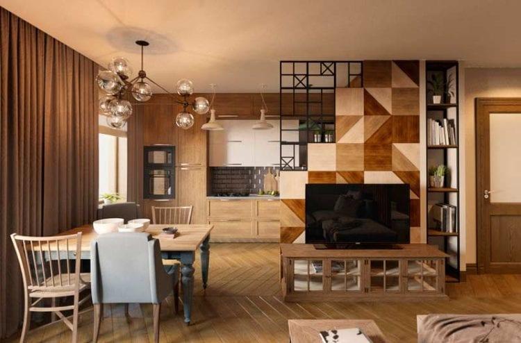 Перегородка в интерьере кухни и гостиной