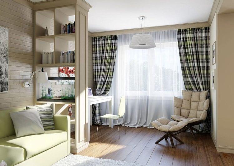 Гостиная спальня с рабочим местом