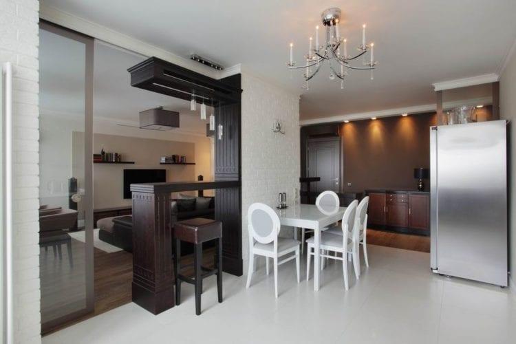 Красивые перегородки из гипсокартона между кухней и столовой