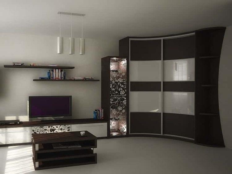 Большие стенки в гостиную с глубокими радиусными шкафами