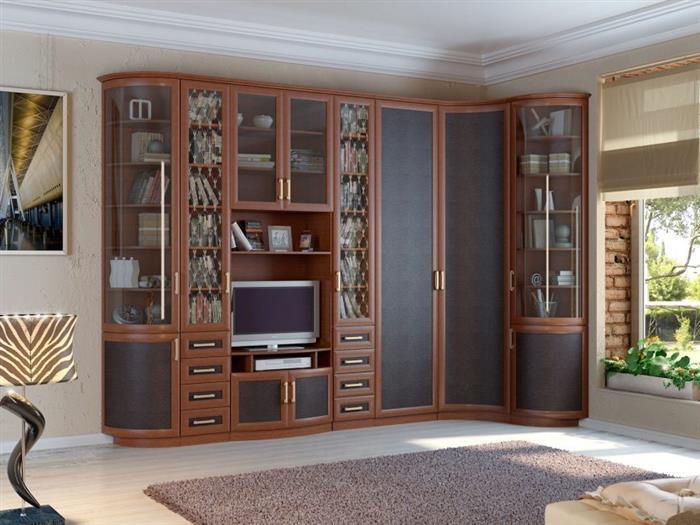 Модульная стенка в гостиную с угловым шкафом