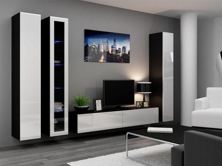 Подвесные стенки со шкафами в гостиной