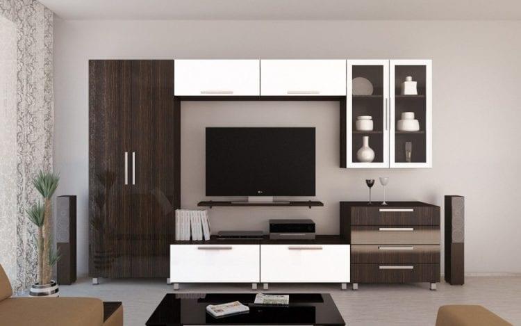 Модульные стенки со шкафом в гостиной
