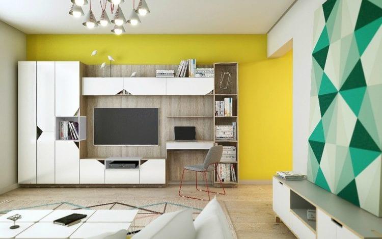 Стенка с компьютерным столом, шкафом и телевизором в гостиной