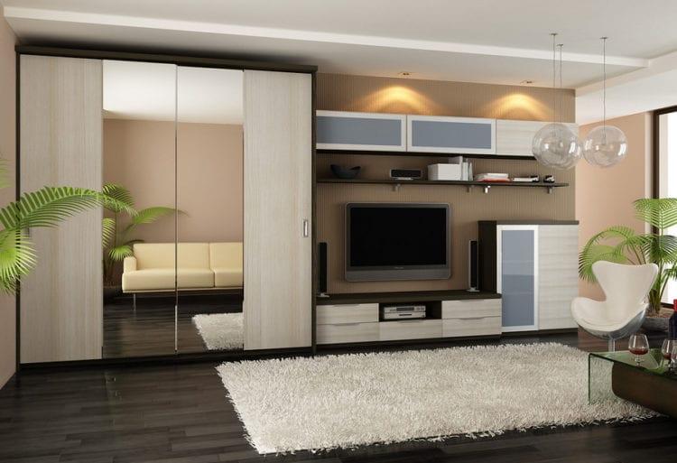 Интерьер комнаты со стенкой со шкафом