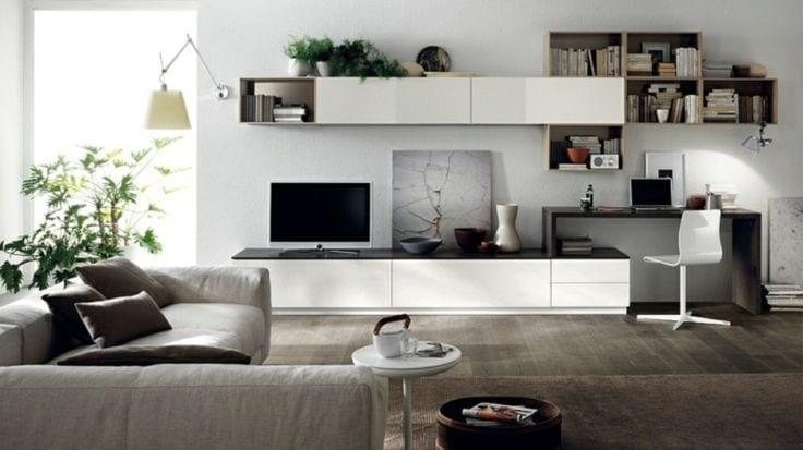 ТВ-стенка в зал с компьютерным столом и шкафом