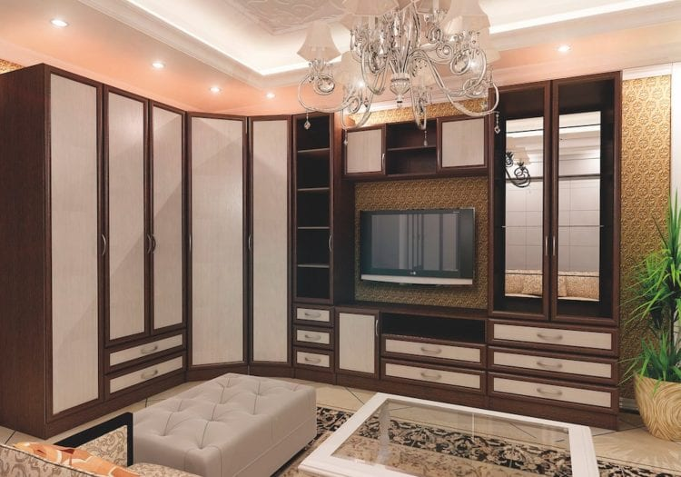 Угловая стенка со шкафом в гостиной