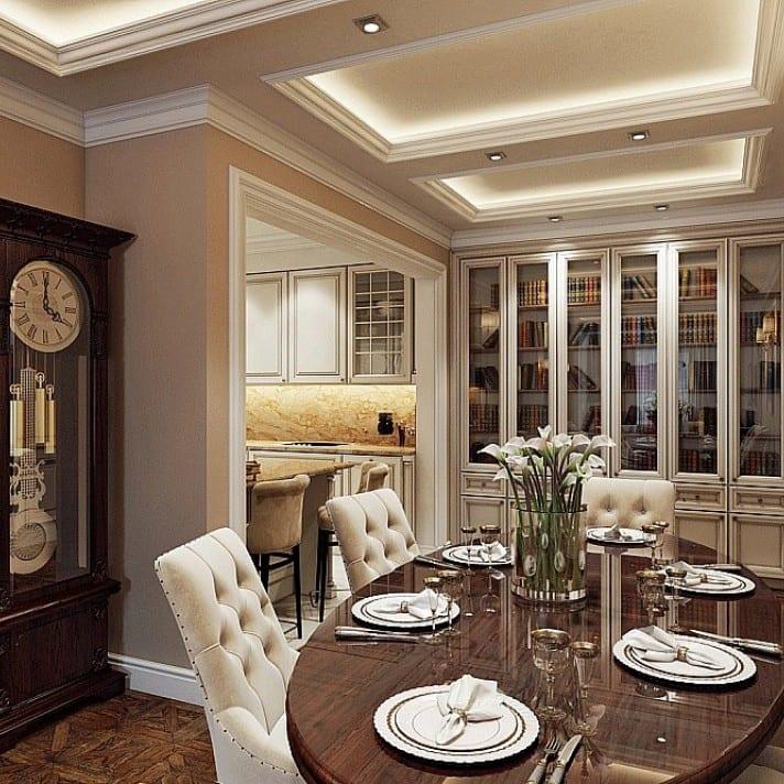 Интерьер столовой зоны в классическом стиле