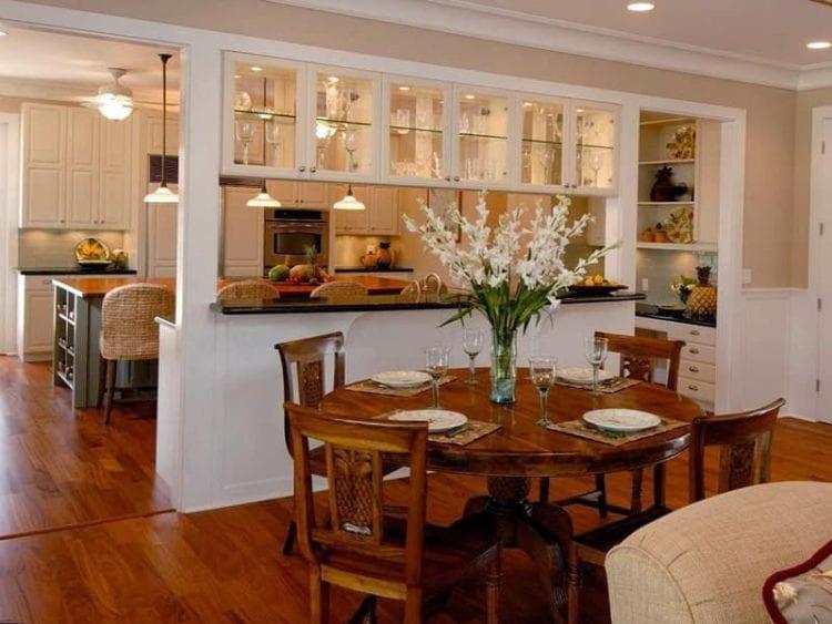 Кухня столовая зонирование