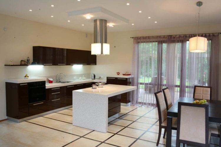 Кухня-гостиная с островом дизайн