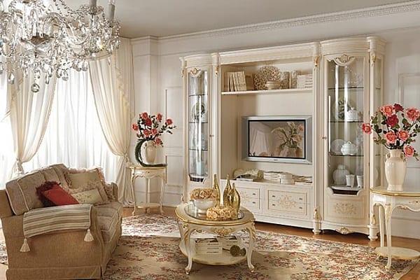 Стенка в гостиную белая классика