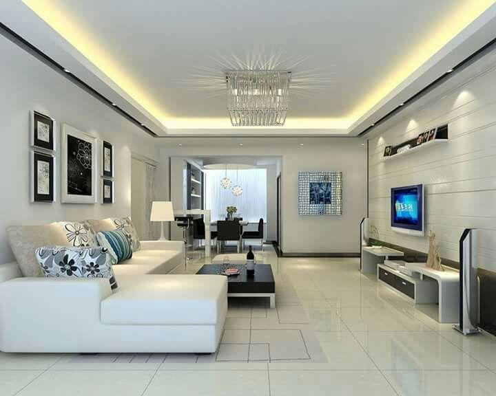 Потолок из гипсокартона с подсветкой в гостиной