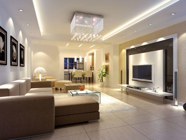 Потолок гипсокартон в гостиной с подсветкой