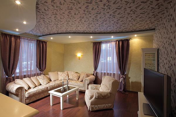 Потолки из гипсокартона фото для гостиной комнаты