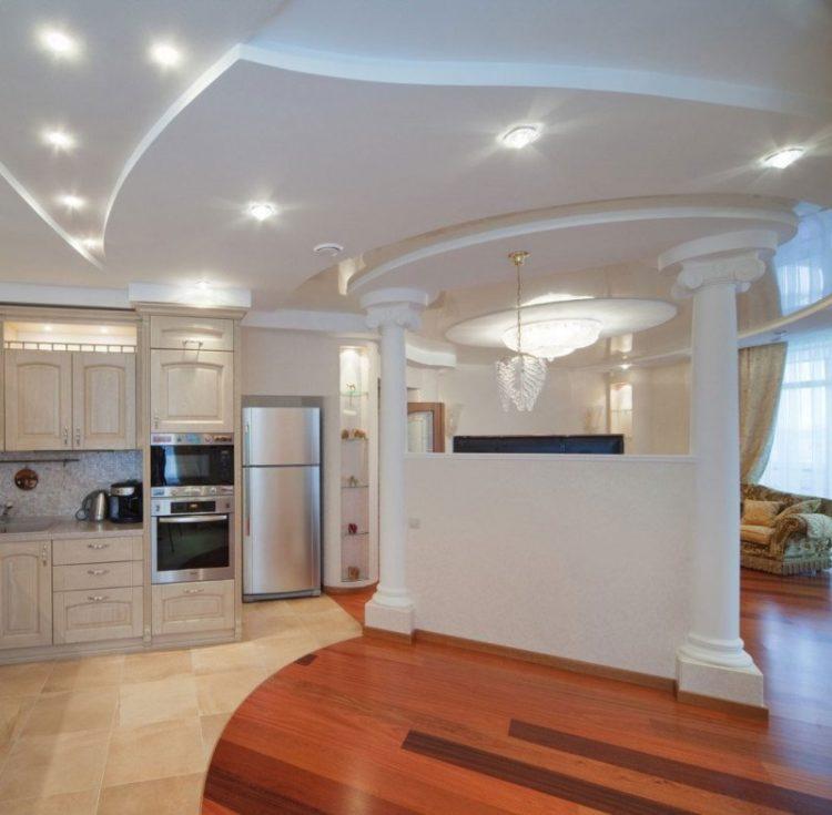 Двухуровневый потолок кухня гостиная