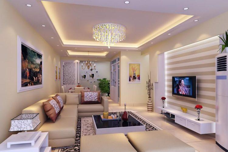 Потолок из гипсокартона с подсветкой в зале