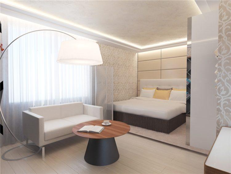 Интерьер гостиной совмещенной со спальней